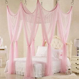 Beautiful Pink Polyester Eight Corner Bed Canopy