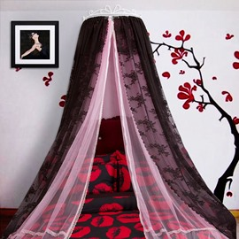 Princess Double Layers Pink and Black Bed Canopy