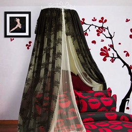 Princess Style Double Lace Black and Light Yellow Bed Canopy