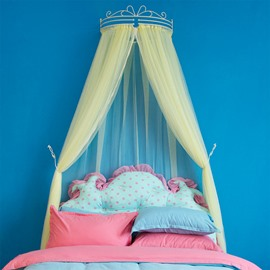 Bright Yellow Princess Style Lace Bed Canopy