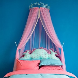 Crown Design Princess Style Pink Lace Trim Bed Canopy