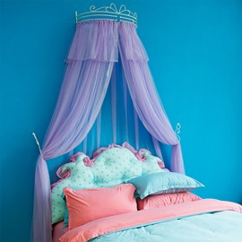 Princess Crown Design Purple Lace Trim Bed Canopy
