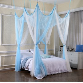 White and Blue Polyester Eight Corner Bed Canopy