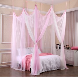 White and Pink Polyester Eight Corner Bed Canopy