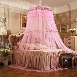 Princess Style Round Lace Dome Polyester Hanging Bed Nets/Canopy