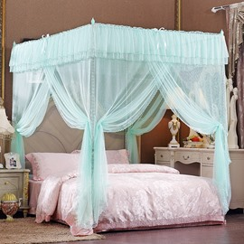 Aqua Green Three Openings Four Corner Post Polyester Mosquito Bed Nets