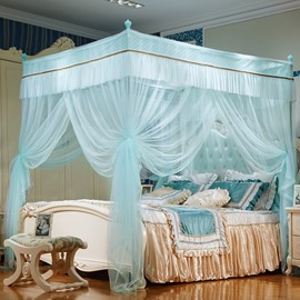 Three Openings Four Corner Post Stainless Steel Frame Sky Blue Polyester Mosquito Bed Nets