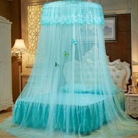 Sky Blue Round Lace Dome Polyester Lightweight Canopy Mosquito Net