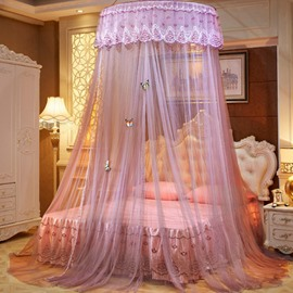 Purple Round Lace Dome Polyester Lightweight Canopy Mosquito Net
