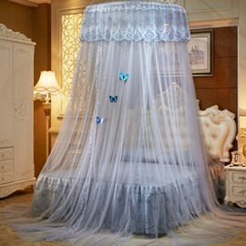 Grey Round Lace Dome Polyester Lightweight Canopy Mosquito Net