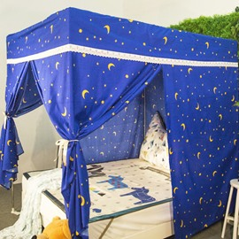 Stars and Moons Printed Blue Lightproof Bed Canopy Mosquito Net