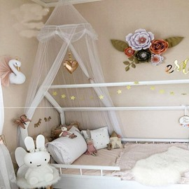 Bed Canopy with Round Lace Princess Kids Mosquito Net