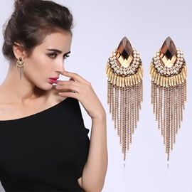 Elegant Fashion Crystal Tassel Earring Birthday Gift