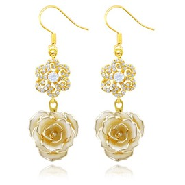 Charming Shining Snowflakel Design 24k Gold Rose Earrings