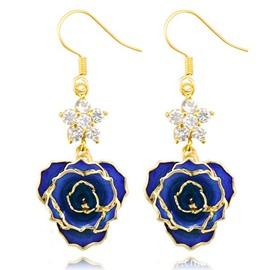 Fantastic Shining Star Design 24k Gold Rose Earrings