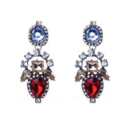 Sparking Diamante Stone Flower Design Earrings