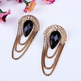 Modest Black Diamante Stone Earrings