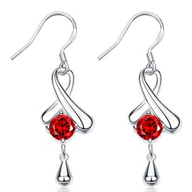 Silver Plated Red Zircon Inlaid Pendant Earrings