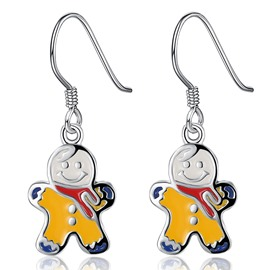 Cute Yellow Snowman Design Pendant Earring