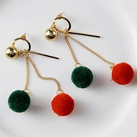 Colorful Little Pompon Design Alloy Pendant Earring