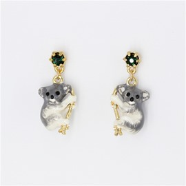 Cute Koala Design Enamel Glaze Earrings