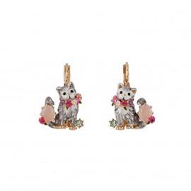 Charming Cat Design Enamel Glaze Pendant Earrings
