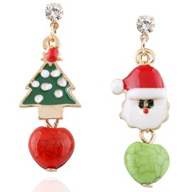 Santa Christmas Tree Shape Fashion Festival Earring