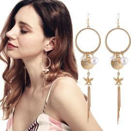European Style Ear Hook Star Fish Shell Pearl Alloy Earring