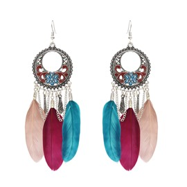 Ethnic Style Oil Drip Technic Alloy Female Feather Drop Earrings