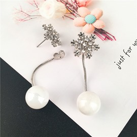 White and Beautiful Snowflake Pure Pearl Earrings
