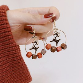 Christmas Fawn Stone Tassel Easy Matching Earrings