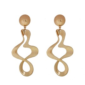 Featured Wave Spiral Gold Fashion Trendsetter Earrings