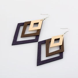 Diamond-shaped Wooden Popular Hollow Multi-layer Earrings