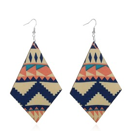Exaggerated Ethnic Style Wooden Double-sided Geometric Earrings