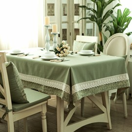 American Rural Style Green Lace Rectangle Tablecloth