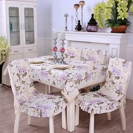 Elegant Polyester Fibre Purple Flower Pattern Decorative Chair Covers