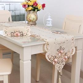Elegant Rectangle Washable Embroidery Flower Pattern Table Runner