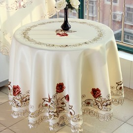 Fantastic Embroidery Flower Lace Crochet Polyester Round Dining Tablecloth