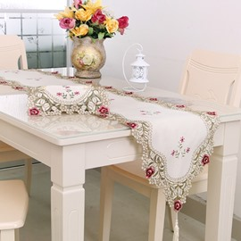 Beautiful Rectangle Embroidery Flower Lace Crochet Polyester Table Runner