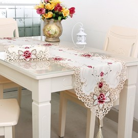 Graceful Rectangle Polyester Embroidery Flower Lace Crochet Decorative Table Runner