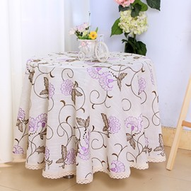 Purple Round Polyester Flower Pattern Washable Dining Tablecloth