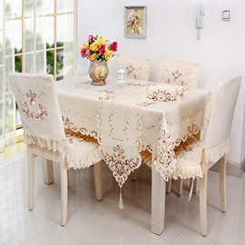 Unique Design Polyester Embroidery Flowers Lace Dining Tablecloth