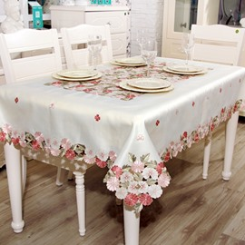 Comtemporary Polyester Country Style Flower Pattern Dinning Tablecloth