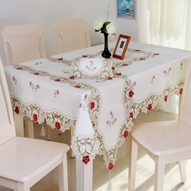 Luxurious Polyester Embroidered Red Roses Pattern Kitchen Dining Tablecloth