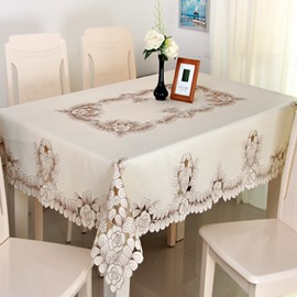 European Style Polyester Embroidery Flower Pattern Dining Room Tablecloth