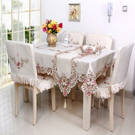 50 Warm Polyester Embroidery Flower Lace Pattern Washable Tablecloth