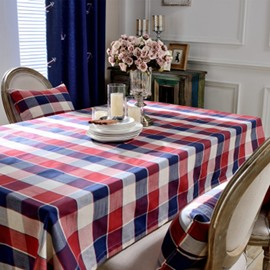 Simple Style Colorful Check Pattern Washable Home Tablecloth