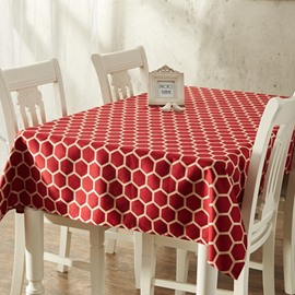 Regal Multicolor Rectangle with Pentagon Pattern Machine Washable Dining Room Tablecloth