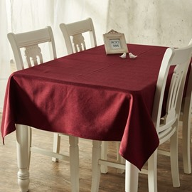Stain Resistant Cotton Rectangle Pure Color Dining Room Decoration Tablecloth