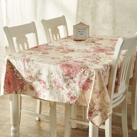 Stylish Rectangle Cotton European Style Flower Prints Dining Room Tablecloth